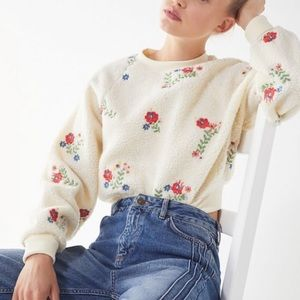 Urban Outfitters Floral Sherpa Cropped Sweater